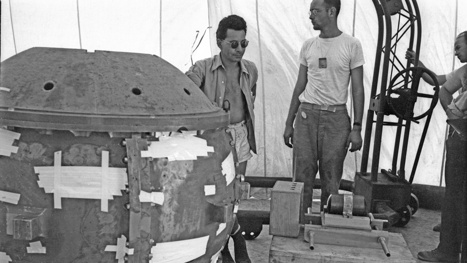 The physicist Louis Slotin during the preparation of the Trinity nuclear test in 1945