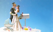 An illustration of husband and wife figurines on a cake, with a stroller, graduation caps, and a mailbox full of money