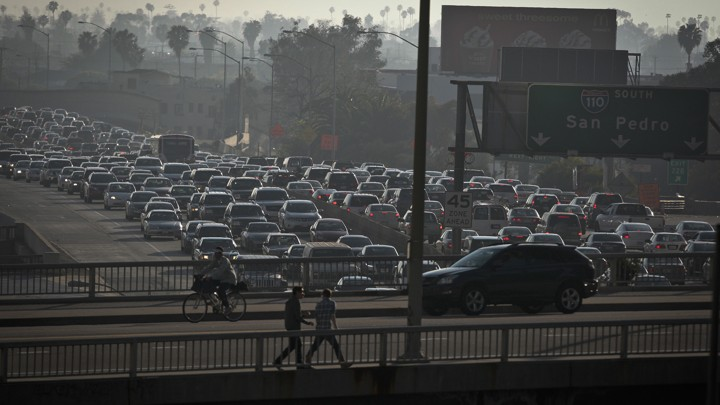 Bumper-to-bumper traffic along Route 110 in Los Angeles