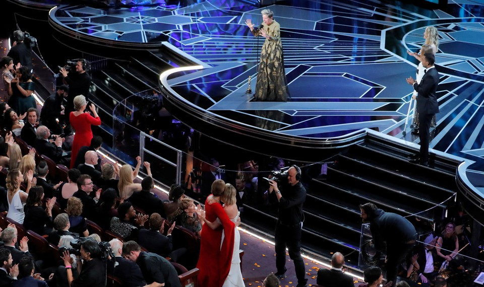 Frances McDormand asks women in the audience to stand as she accepts the Oscar for Best Actress for 'Three Billboards Outside Ebbing, Missouri.'