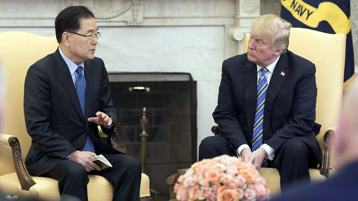 South Korea's national-security chief briefs President Trump