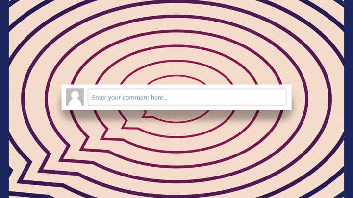 """A series of concentric speech bubbles overlaid with a text box that says """"Enter your comment here"""""""