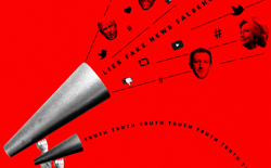 A large megaphone projects lies, fake news, falsehoods, and images of Donald Trump, Mark Zuckerberg, and Hillary Clinton. A smaller megaphone projects truth.