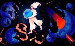 Une personne tient un globe terrestre sur un fond de Terres frappées par des météores, s'écroulant et se heurtant à des roquettes.