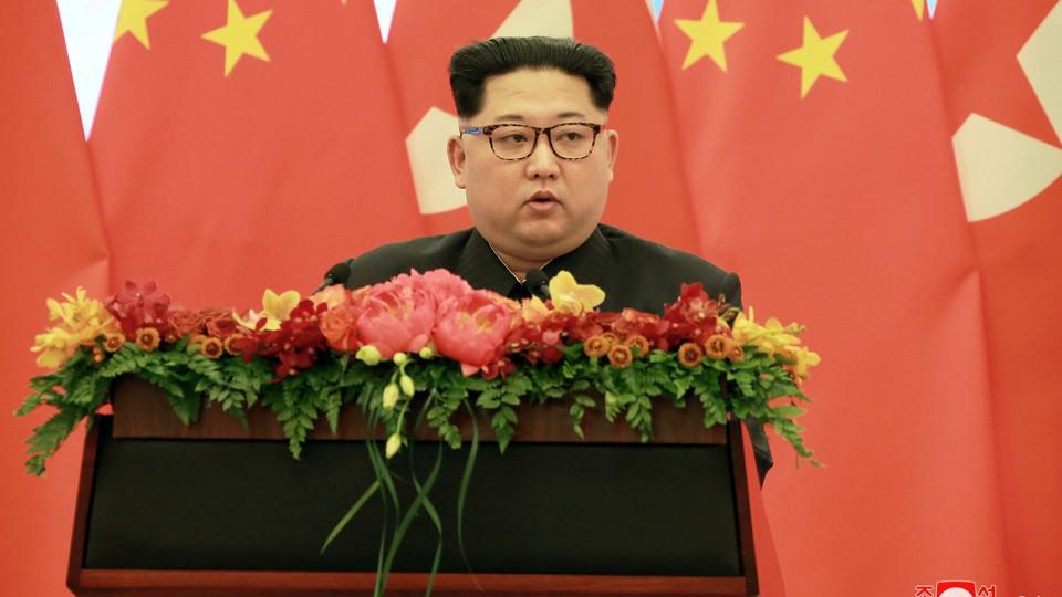 North Korean leader Kim Jong Un speaks in Beijing.