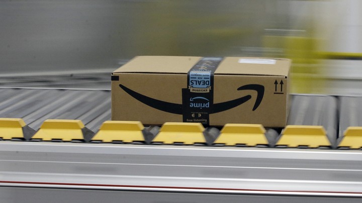 An Amazon Prime package on a conveyor belt