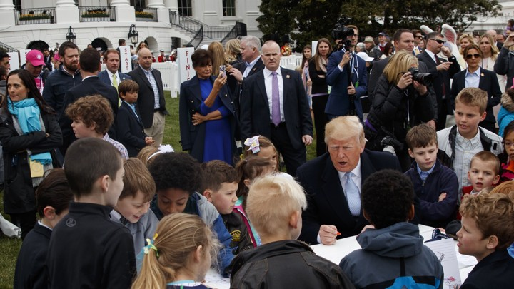 President Trump at the 2018 White House Easter Egg roll