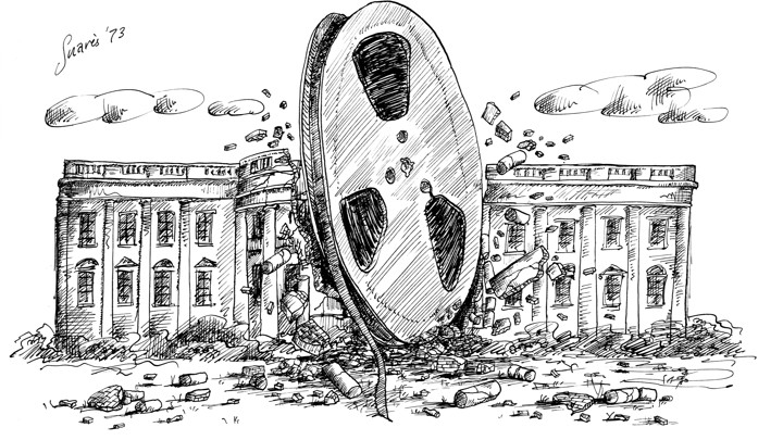 A 1973 political cartoon by Jean-Claude Suares depicts a huge reel of audio tape crashing into the White House.