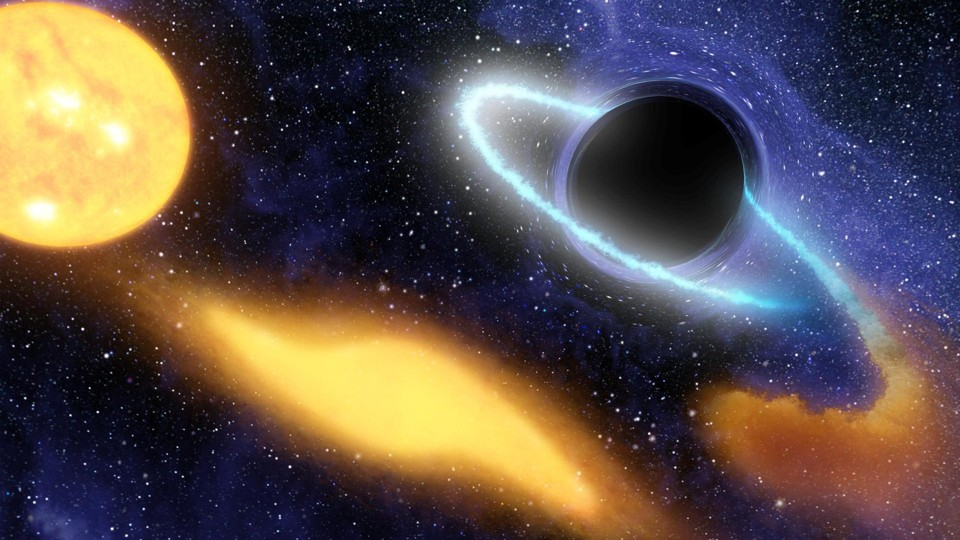 An illustration of a supermassive black hole digesting the remnants of a star