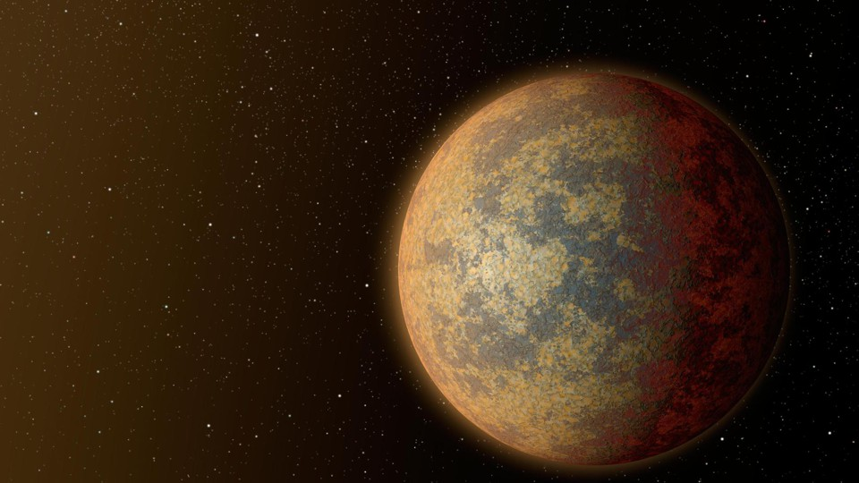 An illustration of a rocky, Earth-sized planet outside our solar system