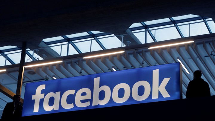A banner with the Facebook logo
