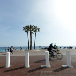 Concrete bollard barriers on the Promenade des Anglais in Nice, France