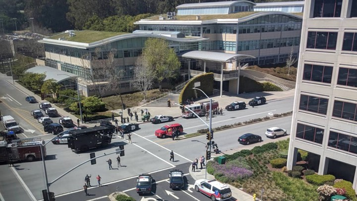Officials respond to a possible shooting at YouTube's headquarters in San Bruno, California.
