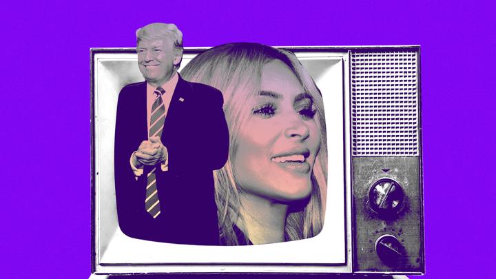Cutouts of Donald Trump and Kim Kardashian inside a TV screen