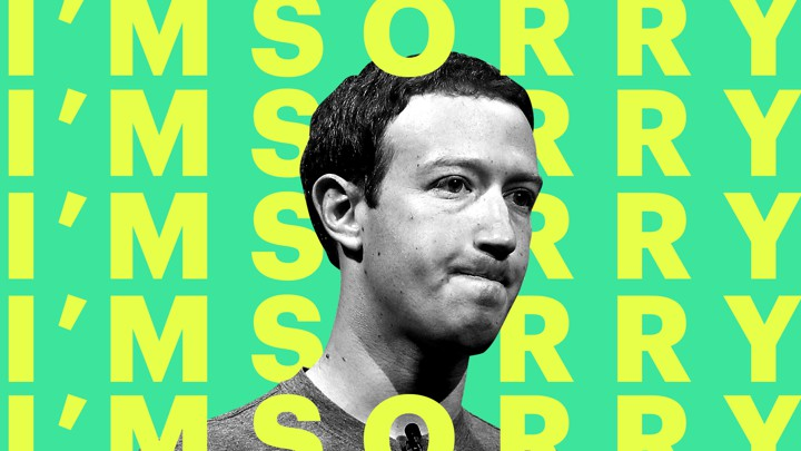 """A photograph of Mark Zuckerberg superimposed over the words """"I'm sorry"""""""