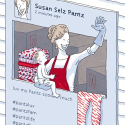 Illustration of a woman selling yoga pants from an Instagram window
