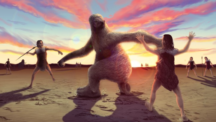 An artistic reconstruction of humans hunting a ground sloth