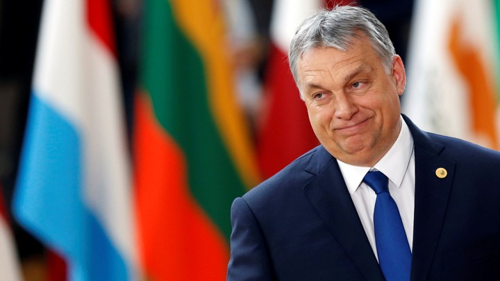 Viktor Orbán at the EU summit in Brussels, Belgium, in 2017