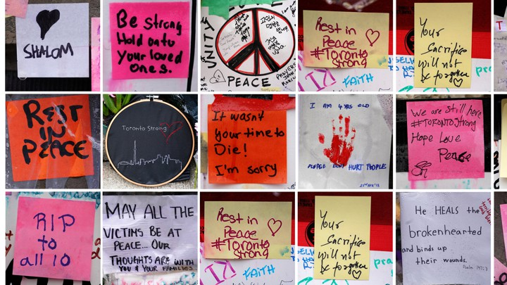 A combination photograph shows notes of support at a makeshift memorial on Yonge Street in Toronto, Canada, in 2018.