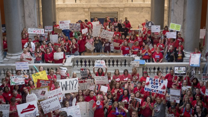 Kentucky teachers protest inside the state Capitol.