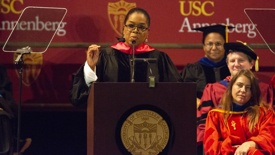 Oprah Winfrey delivers a commencement address