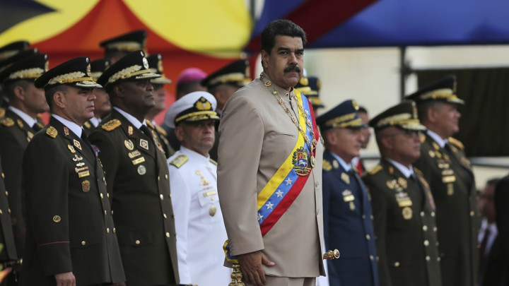 Maduro and military officers in uniform