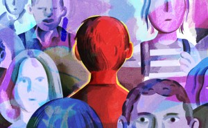 An illustration of an anonymous child highlighted in red in a crowd of other young students