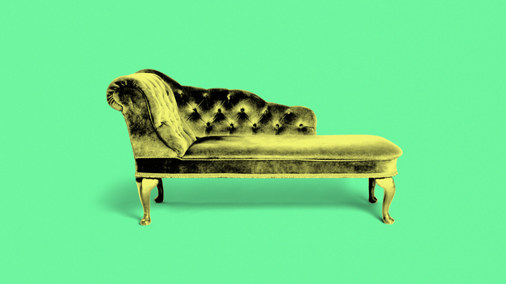 A photo illustration of a therapist's couch