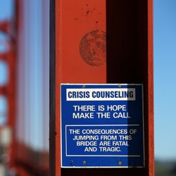 "A blue and white sign attached to the Golden Gate Bridge that reads ""There is hope, make the call"""
