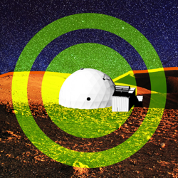 An illustration of a dome-shaped simulation habitat on the surface of Mars