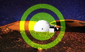 Une illustration d'un habitat de simulation en forme de dôme à la surface de Mars