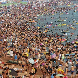 Hundreds of people at the beach