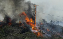 A pole supporting electric wires goes up in flames in a wildfire.