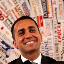 Luigi Di Maio, of the anti-establishment Five-Star Movement, smiles during a news conference in Rome.