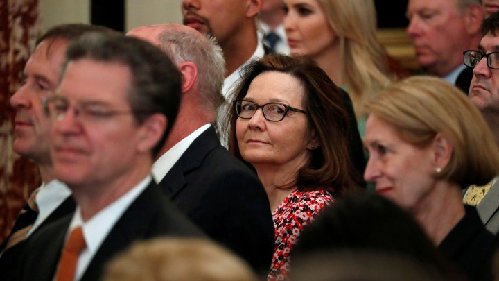 Gina Haspel in a crowd of faces