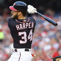 The Washington Nationals right fielder Bryce Harper hits a lead-off home run.