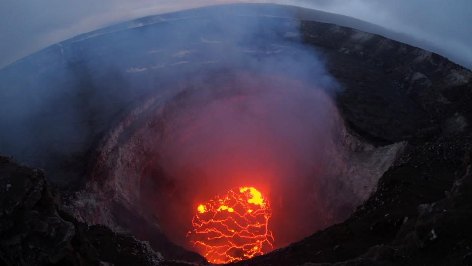 Kilauea volcano's summit red and orange lava lake