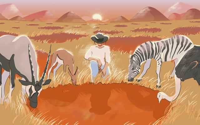 Continue Reading · An illustration of a person, a zebra, an ostrich, and  antelope standing around