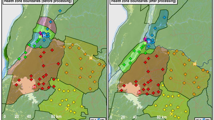 Old (left) and new (right) maps of the Ebola outbreak zone.