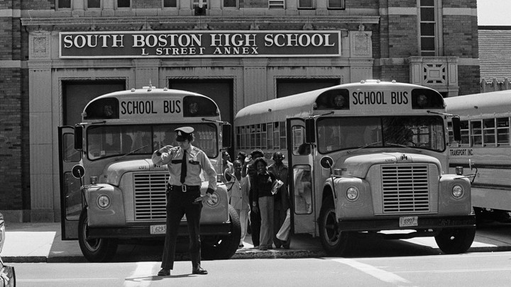 Students board buses.