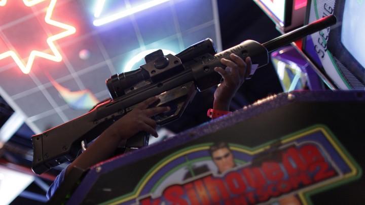 A toy gun in an arcade