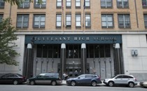 A front view of Stuyvesant High School's entrance