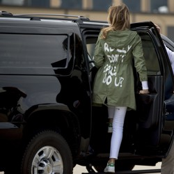 First lady Melania Trump gets into her vehicle as she arrives at Joint Base Andrews on June 21, 2018, after visiting the Upbring New Hope Children's Center in McAllen, Texas