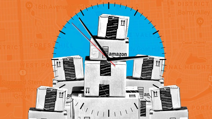 A stack of Amazon packages overlaid with a clock and a map of San Francisco
