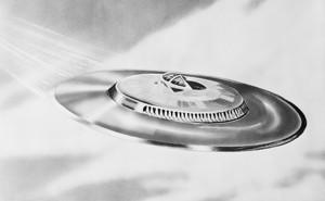 Illustration en noir et blanc d'une soucoupe volante