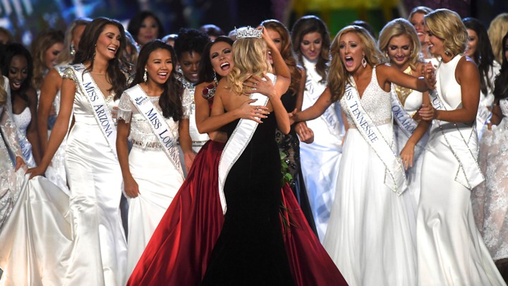 Miss america 20 swimsuits metoo and the beauty myth the atlantic miss maryland hannah brewer embraces newly crowned miss america miss arkansas savvy shields 21 during the 96th miss america pageant at boardwalk hall in gumiabroncs Images