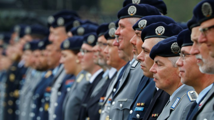 A row of soldiers standing at attention