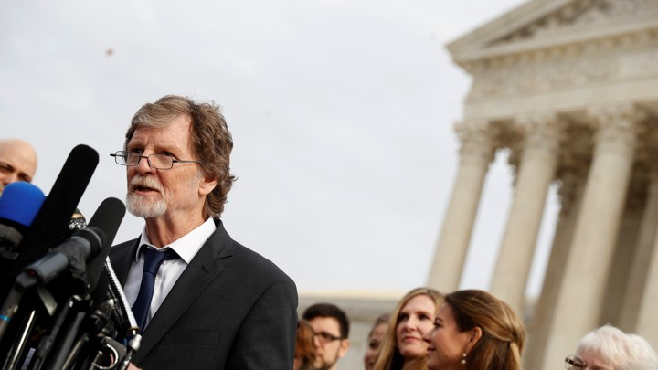 Baker Jack Phillips speaks with the media following oral arguments in the  Masterpiece Cakeshop vs. Colorado Civil Rights Commission case at the  Supreme ... 67693da413f19