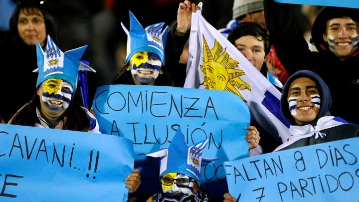 Uruguay fans with flags in Montevideo in June 2018