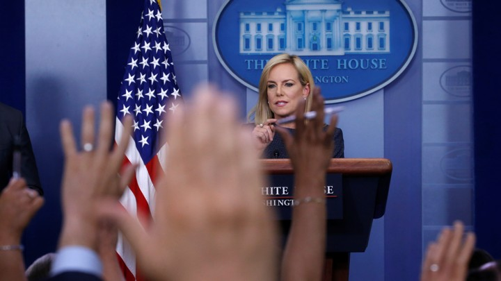 Homeland Security Secretary Kirstjen Nielsen in the briefing room